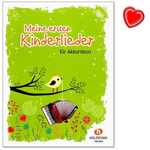 Mis primeros canciones para niños - 27 canciones para la educación inicial en el acordeón - libro de partituras con colorido clip en forma de corazón