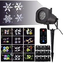 GAXmi Telecomando Lampada Luci a LED 12-in-1 Natale decorazioni Impermeabile Spot illuminazione con Halloween Compleanno Fiocchi di neve Stelle Farfalle Cuori Foglie d'acero Trifoglio (12 Foglio)