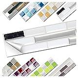 Wandora 1 Set Fliesenaufkleber 27 x 4,7 cm schwarz metallic weiß Silber Ziegel Design 17 I 3D Mosaik Fliesenfolie Küche Bad Aufkleber W1536