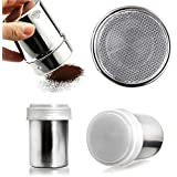 Taluka Stainless Steel Powder Shaker, Coffee Cocoa Dredges with Fine-Mesh Lid,250 ML Can for Baking Cooking Home Restaurant