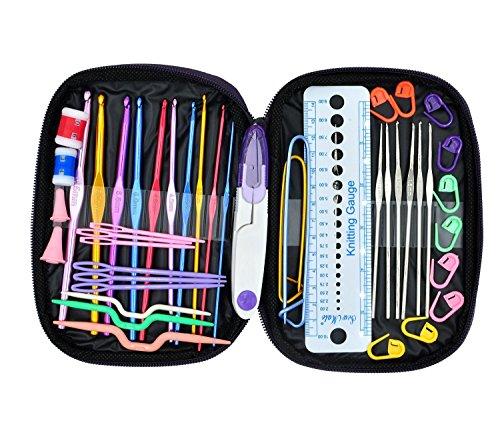 OldShark 49 Stück Häkeln Haken Knit Nadeln Nähen Knitting Tools Garn Vollständige Set Knit Gauge Schere Stitch Holders