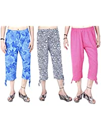 MUKHAKSH (Pack of 3 Girls Hot Cotton Printed Capri 3/4 for Casual & Sports wear (Print May Vary)