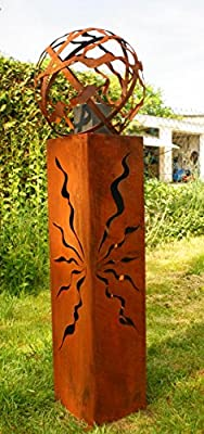 Rostsäulen Fackel 100cm mit Muster Gartenkugel Feuerkugel Rostkugel * von Gartendekoshop24 bei Du und dein Garten
