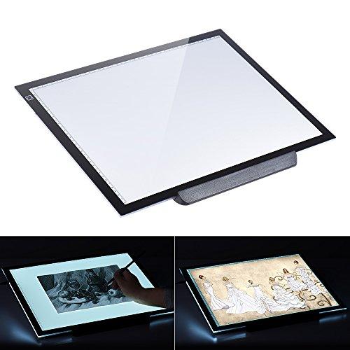 Aibecy Leuchttisch, A3 LED Leuchtkasten, 7.7mm Ultra Dünn Leuchtplatte, Einstellbare Helligkeit, Dimmbare Leuchtrahmen mit EU Ladegerät für Handwerk Animations Malerei (21.4 Zoll, 47 x 37cm, 100-240V)
