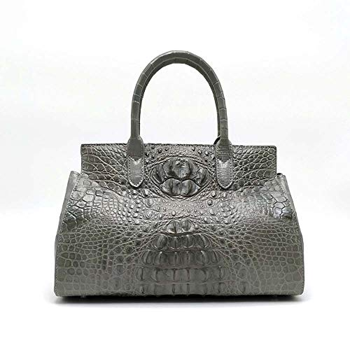 AmzGxp Hellgrau Wahren Leder-Handschulterbeutel Designs In Handtaschen Alligator Weibliche Abendessenbeutel (33 * 15 * 23cm) Exquisit