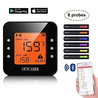 OUTCAMER Grillthermometer Bluetooth, BBQ Thermometer Fleischthermometer Grill, Smart mit 6 Edelstahl Sonden Remoted Monitor für Kochen Raucher Ofen Küche, Unterstützung IOS & Android