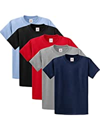 5 pieces PACK Plain Navy, Heather, Red, Black, Sky 100% rich soft ORGANIC cotton MIX PLAIN T SHIRT with GIFT BOX