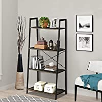 LENTIA 4-Tier Storage Shelves Ladder Bookshelf Industrial Bookcase Shelving Unit Plant Stand with Metal Frame 55 * 32.5 * 120cm (4 Tiers, Wooden grey)