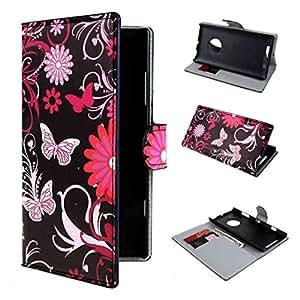 Nokia Lumia 830 Case , ivencase [ New Stile ] 27 Portafoglio Fiore PU Pelle Shell Buckle Stare Folio Protettivo Skin Cover Per Nokia Lumia 830