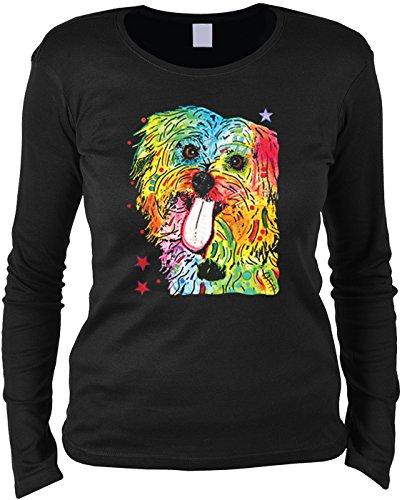 Pop Art ::: Shih Tzu ::: Longshirt für Hundefreundinnen Schwarz
