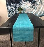 OSVINO Elegante Alfombra Rectangular bambú Trenzado Resistente a Las Manchas Hotel Home Kitcken Mesa de Comedor, Vinilo, Azul, 1xTable Runner