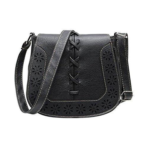 borse di Crossbody - SODIAL(R)Donne Messenger Bag New Giapponese retro' fresco intagliato scava fuori spalla borse Delle Signore croce corpo borse borsa della donna di profondo rosa nero