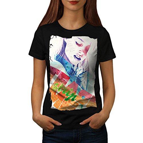 Mädchen Gesicht Streifen Mode Verführung Damen M T-shirt | (Perücke Schwarze Verführung)
