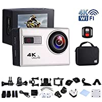 Sports Action Camera Wifi 1080P/4K Full HD 12MP Waterproof Cam Underwater 30M, 170° Wide Angle, 2.0