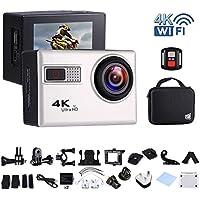 """Ankere Sport Aktion WIFI Kamera 4K 1080P Ultra HD Unterwasser 30m Wasserdichte,70 °-170 ° Weitwinkel Cam, 2,0 """"LCD-Bildschirm, mit Zubehör(2 Batterien + Fernbedienung + Stativ) - 20MP Silber"""