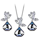 T400 Jewelers Conjunto de Joyas de Mariposa Collar Colgante con Forma de Triángulo y Pendientes Hechos con Cristales Swarovski Azul Cambio de Color Regalos para Mujeres Novia