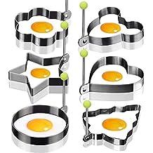 6pcs acero inoxidable anillos de huevo frito molde antiadherente Huevo Cocina con forma de huevo frito Pancake omelets Mold anillos anillos para tortitas de utensilios de cocina