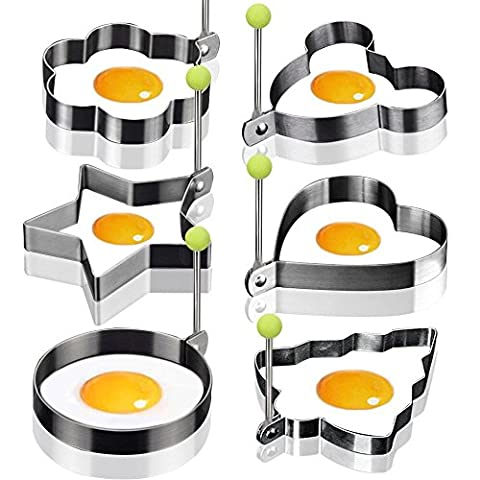 Lot de 6 Moule à Oeuf au plat en acier inoxydable anti-adhésif Oeuf Anneaux de cuisson Oeuf au plat à crêpes Omelettes Moule Ustensiles de cuisine Pancake Anneaux