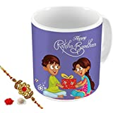 Aart Store Happy Raksha Bandhan Rakhi Gifts For Brother/Sister Quote Printed Gift Set Of Mug 350 Ml, Crystal Rakhi For Brother, Roli, Chawal & Greeting Card - Rakshabandhan Gifts For Brother/Sister, Rakhi For Brother With Gifts, Raksha Bandhan Gifts