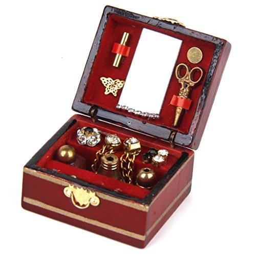 xinjiener Puppenhaus Jewelry Box Miniatur aus Holz Kosmetik Make-up-Box Organizer