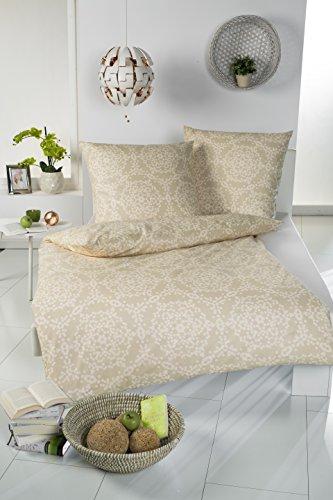 Brandsseller Baumwolle-Polyester Bettwäsche Garnitur - Set für Kopfkissen und Bettdecke - mit Reißverschluss - Gold/Weiß - 135 x 200 cm | 80 x 80 cm