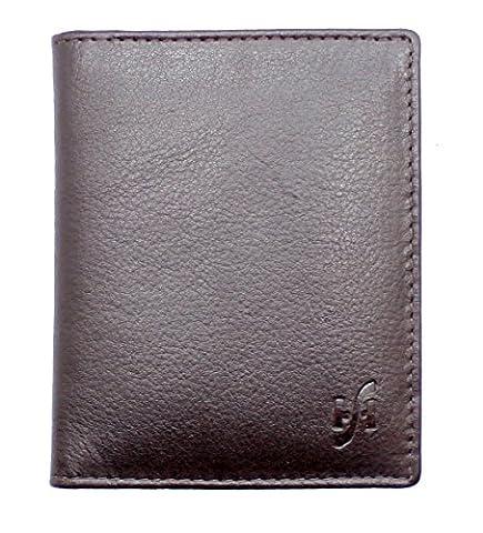 StarHide® Petit Homme Et Petite Carte En Cuir Véritable Titulaire De Carte De Crédit Mini Carte Cas # 105 (Marron)