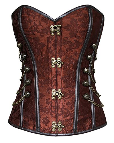 charmian women's spiral steel boned steampunk gothic bustier corset with chains - 516pMF3wTtL - Charmian Women's Spiral Steel Boned Steampunk Gothic Bustier Corset with Chains