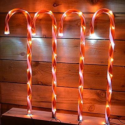 4pc Candy Cane Light up Garden Set