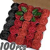 Lot 100 Roses artificielles pour décoration salle de mariage . voiture . maison. Kit décor fausses fleurs avec tige pour photobooth - lettre mur - gâteau - table. Bleu Rouge Violet Vieux Rose Fushia