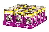 Whiskas Katzen-/Nassfutter Adult 1+ für erwachsene Katzen mit Huhn in Gelee, 12 Dosen (12 x 400 g)