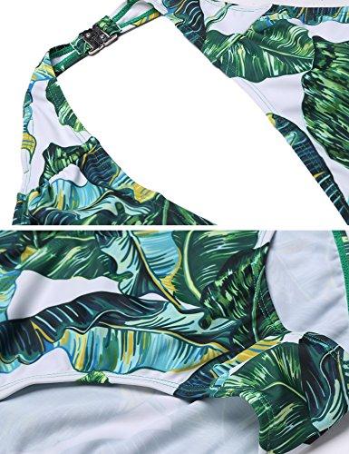 Unibelle Damen Einteilige Bademode Badeanzug Strand Bikini Push Up Bauchweg Monokini Grün