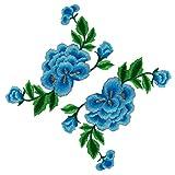 Toppe da applicare con stiratura o cucitura, a doppio strato, con fiori di peonia ricamati, confezione da 2. Skyblue