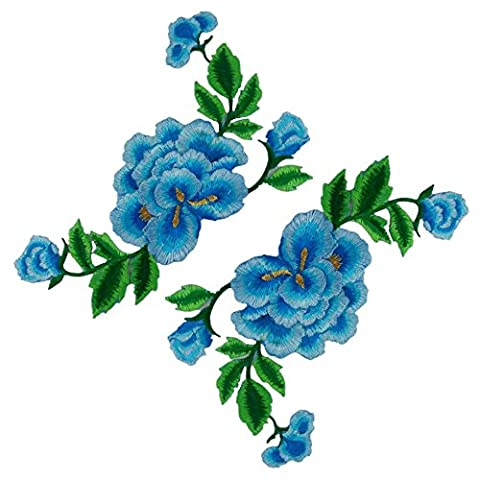 (Pack of 2)Double Layers Peony Flowers on Vine Embroidered Appliques Sew or Iron on Patches-Skyblue