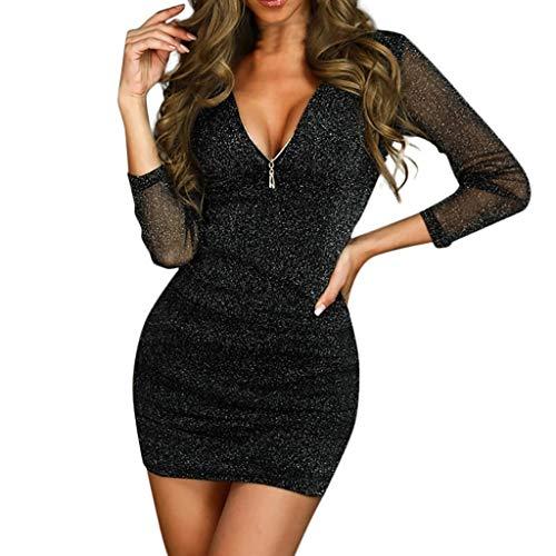 SANNYSIS Mini Kleider Damen Sexy V-Ausschnitt Abendkleider Festlich Party Langarm Slim Dress Schöne Sommerkleid Overall Tunika T-Shirt Kleid Rockabilly Kleid Sommer (XL, Schwarz)