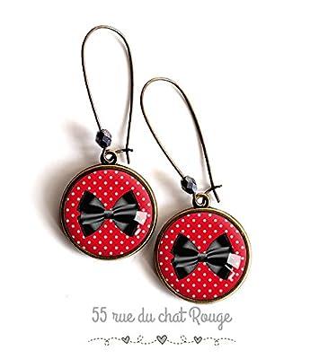 Boucles d'oreilles cabochon, Rouge à petit pois blanc, noeud papillon