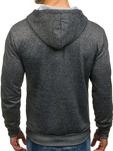 BOLF Herren Sweatshirt mit Kapuze Reißverschluss Pullover Basic sportlicher Stil Mix 1A1 Anthrazit_M223