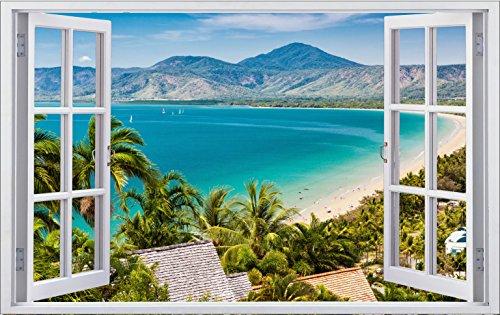DesFoli Strand Meer 3D Look Wandtattoo 70 x 115 cm Wanddurchbruch Wandbild Sticker Aufkleber F368