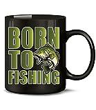 Golebros Angeln Born to Fishing 4450 Angler Zubehör Geburtstagsgeschenk Vatertagsgeschenk Weihnachten Geschenke Angel Männer Tasse Becher Kaffeetasse Schwarz