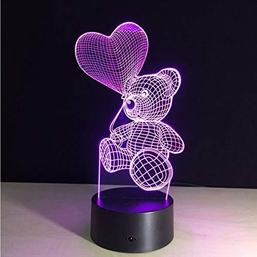 (Nachtlichter 3D Touch Nachtlicht Led Herz Ballon Bär Lampe Kinder Schlafzimmer Nacht Nachtlicht Kinder Geschenk Hause 7 Farben Decor Drop)