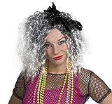 """Une perruque blanche et grise de la plus célèbre """" Queen of pop """" avec un nœud noir pour adulte. Ideal pour les enterrements de vie de jeune fille."""