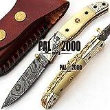 PAL 2000 Couteau Pliant, Couteau de Poche, Couteau Fait à la Main sur Mesure, Couteau en Acier Lame de Damas, avec Fourreau en Cuir, Couteau Fait Main, Couteau forgé à la Main 9596