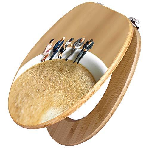 BANJADO Design Toilettensitz in Bambus, WC-Sitz Holz MDF 44x38x5cm, Klodeckel mit Universal Scharnieren, Toilettendeckel mit Motiv Kaffeepause -