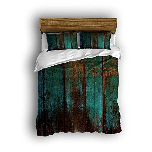 Charm Home Rustic Distressed Blaugrün Grün Barn Holz Design Super Weiche 4? Bettbezug Set, Ultra Weich und pflegeleicht, farbbeständig, baumwolle, multi, King/Extra Large