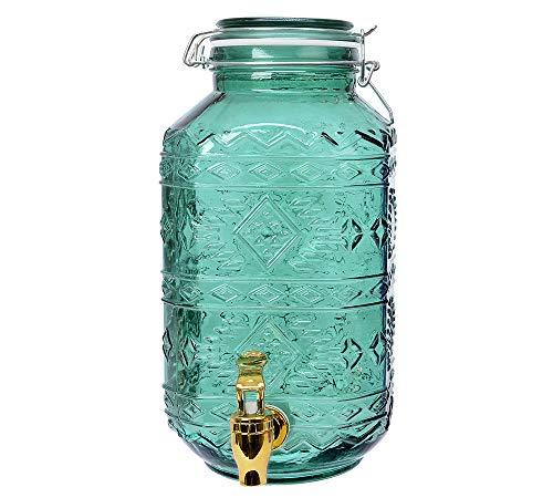 Getränkespender mit Zapfhahn Einmachglas Grün Wasserspender Vintage 4 Liter