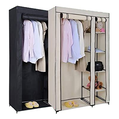 Solid Double Clothes Rack Shelves Canvas Fabric Wardrobe Rail Clothes Storage UK Black - inexpensive UK wordrobe shop.
