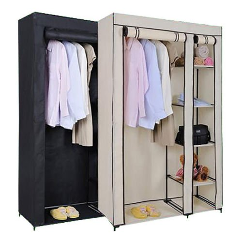 solid-double-clothes-rack-shelves-canvas-fabric-wardrobe-rail-clothes-storage-uk-black