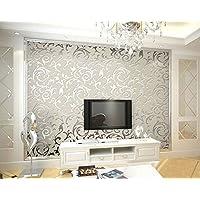 HANMERO Papier Peint Baroque Designe Damassé Classique Acanthe Feuille Flocage 3D PVC pour Salon TV Backdrop Chambre- 0,53m*10m- Gris-Argenté