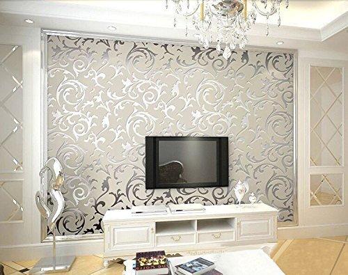 HANMERO Europa reg;einfache und europäische PVC-Tapete Prägung Mustertapete 0.53m*10m silbergrau für Fernsehhintergrund, Schlafzimmer, Sofahintergrund, Hotel (Hotel Foto)