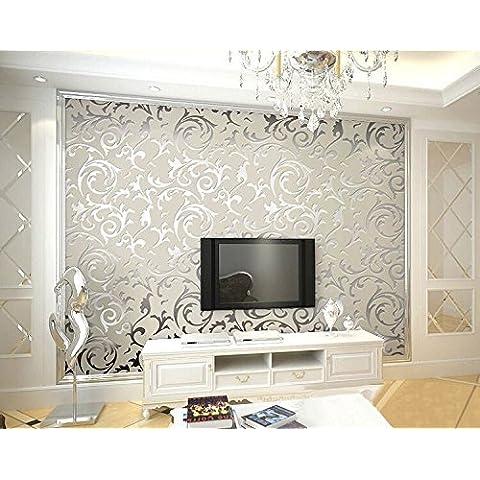 Hanmero 3 rollos papel pintado moderno con fotografías de las plantas, vinilo papel de pared pintado, color gris plateado,