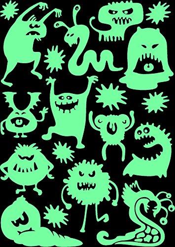 lumentics Monster Leuchtaufkleber - Super stark im Dunkeln nachleuchtende Aufkleber. Fluoreszierende Leucht-Sticker für Kinderzimmer. Lustige Fantasy-Sticker u. Kinder-Wandbilder. (DIN A4 Bogen, Grün)